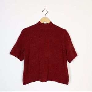 Two-Tone Burgundy Red ShortSleeve Crop Sweater Top